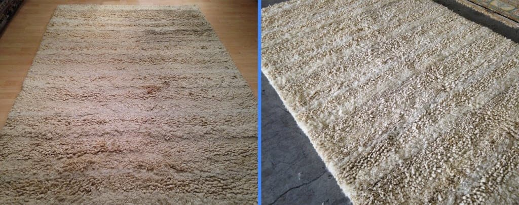 before and after shag rug cleaning job for a Los Angeles resident
