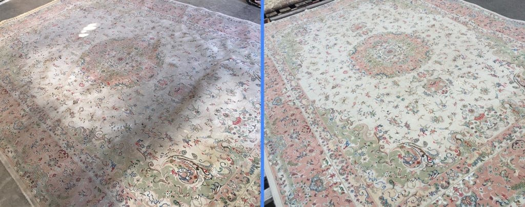before and after of our rug cleaning service for a Los Angeles resident